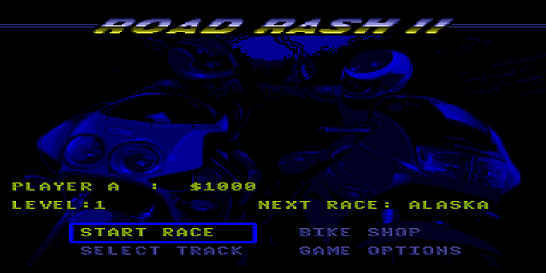 Road Rash II Menu